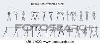 高圧 電気ライン Pylon アイコン セット Suitable ために 作成 Infographics ウェブサイト 内容 など