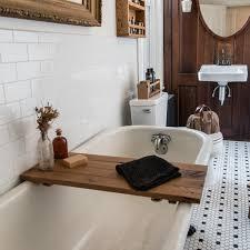 sustainable wood bath tray in oak