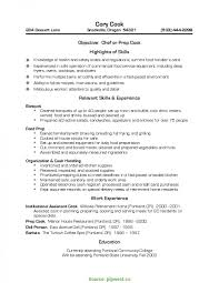 Resume Template Line Cook Resume Sample Free Career Resume Template