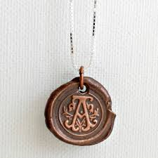 copper ornate letter a initial pendant charm necklace product images of
