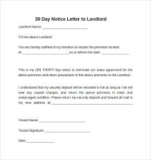 7 sample 30 days notice letters to landlord in word thirty day notice letter