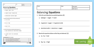 balancing chemical equations ks3