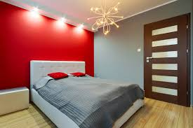 red wall paint black bed: modern bedroom red wall white headboard