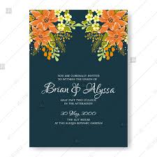 Mothers Day Card Template Impressive Orange Soft Flowers Engagement Wedding Invitation Vector Template