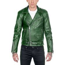 men green slimfit leather jacket fashion biker designer leather jacket for men