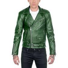 men green slimfit leather jacket fashion biker designer leather jacket for men