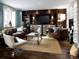 traditional beige carpet for cozy family room ideas with leather chesterfield sofa set