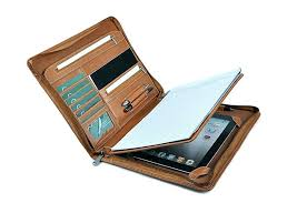 for personalized leather portfolio with zipper zippered