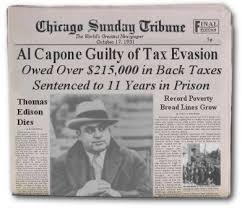 「1931, Alphonse Gabriel Capone put in prison」の画像検索結果
