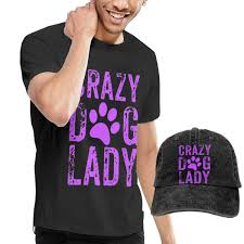 Mens Short Sleeves Crazy Dog Lady T Shirt Jeans Hats