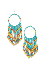 faux turquoise beaded chandelier hoop earrings