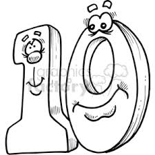 ten clipart black and white. Modren Black Clack And White Number Ten With Cartoon Faces In Ten Clipart Black And White