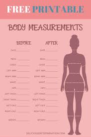 Inches Lost Chart Printable Body Measurement Chart Delicious Determination