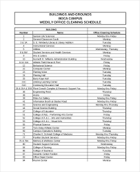 Office Cleaning Schedule Template 10 Free Word Pdf Format Commercial