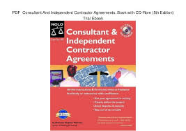 Consulting Agreement In Pdf Beauteous PDF Consultant And Independent Contractor Agreements Book With CDR