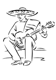 Small Picture Playing Mexican Guitar coloring page Free Printable Coloring Pages