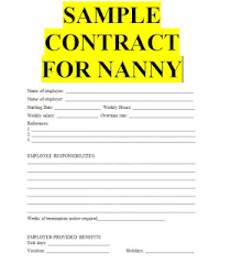 Nanny Contract Template Word For Free Sample Contracts