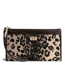 COACH Madison Zippy Wallet in Ocelot Print Fabric