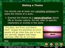 the elements of fiction ppt  stating a theme you should use at least one complete sentence to state the theme of