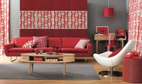 Living Room With Red Beauty Of Walls My Decorative