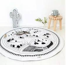 2019 hand printed kids play game mats baby room crawling blankets children play rugs nursery padded round racing carpet 100 cotton 95cm from