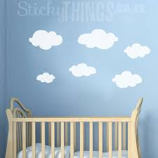the clouds wall art decal is 6 different shaped fluffy cloud wall stickers  on wall art decal nursery with clouds wall art decal stickythings za
