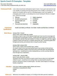 Football Coaching Resume Template Sports Coach Cv Example Cv Examples Job Resume Samples