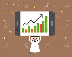 Cute Arab Businessman Carry Giant Tablet Present Bar Chart Flat
