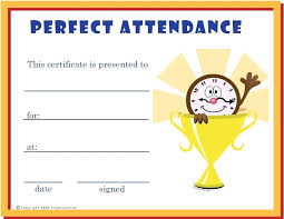 Perfect Attendance Certificate Template Free Elementary