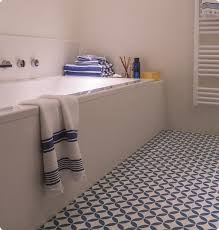 bathroom with with victorian ceramic tile effect cushion vinyl flooring