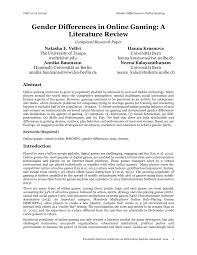 Literature Review In Apa Online Research Paper Samples Pdf Gender Differences In