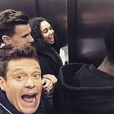 people stuck in elevator. source: ryan seacrest/instagram people stuck in elevator :