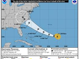 Hurricane Tracking Chart Florence Hurricane Florence Trajectory Latest Tracker Update