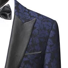 Patterned Tuxedo Cool SCUZZATTI BLUE FLORAL PATTERNED TUXEDO JACKET SLIM FIT