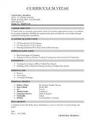Pre Primary School Teacher Resume Sample Resume Template Free