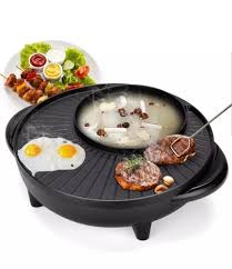 Nồi lẩu điện nồi nướng điện nồi lẩu nướng 2 trong 1 đa năng vừa ăn lẩu và  nướng chống dính cao cấp