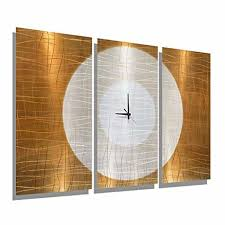 large gold abstract metal wall clock handcrafted functional art etched modern metal wall clock