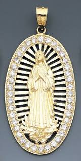 14k gold cz virgin mary pendant 44mm w x 90mm h includ