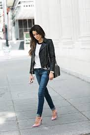 a black leather jacket is the perfect way to spruce up a casual t shirt