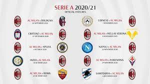 Calendario Milan Serie A 2020-2021