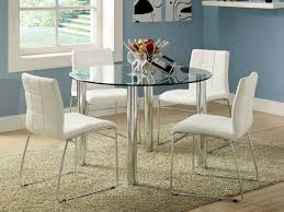 dining room stunning round glass white dining table with white leather dining chairetal