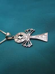 oxidized sterling silver ankh necklace