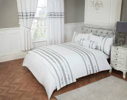 double bed duvet cover set glitz white silver trim 200 thread count 100 cotton