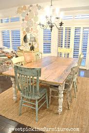 my new farm style table w mismatched chairs for round country dining table