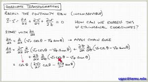 coordinate transformations part 3 lecture chemical derivation of the continuity equation you navier stokes