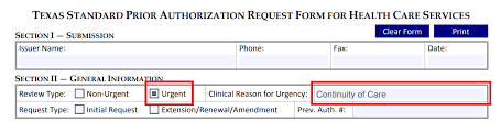 Prior Authorization Form Update For Continuity Of Care