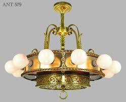 vintage hardware lighting antique bare bulb 18 light chandelier 1910s 1930s ceiling fixture ant 579