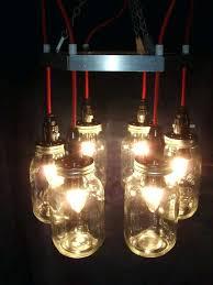 red metal mason jar chandelier pendant lighting kit