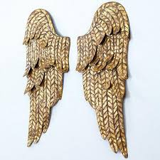 set of 2 gold angel wings wall plaque