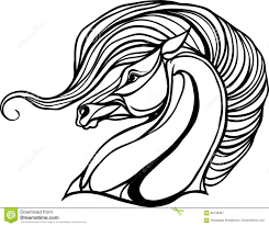 horse head for coloring book stock vector ilration of drawing foal
